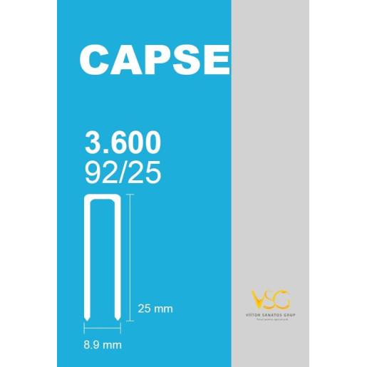 Capse tip U 92/25 pentru capsator pneumatic, 3600 buc/cutie