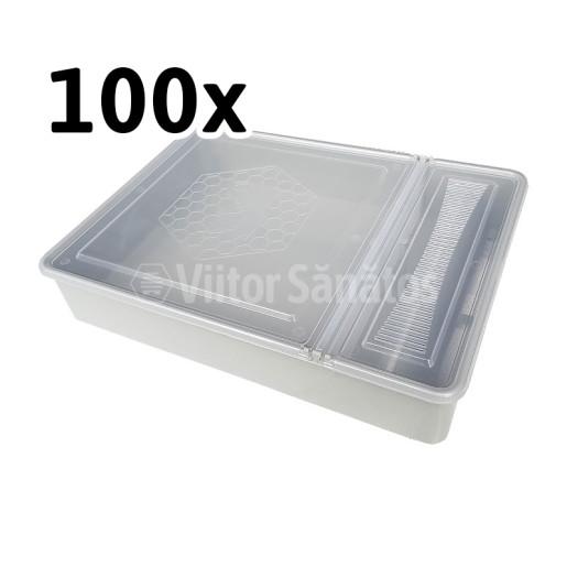 Hranitor pe podisor patrat 3.5 litri cu capac transparent (100 buc)