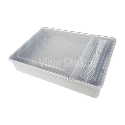 Hranitor pe podisor patrat 3.5 litri cu capac transparent (buc)